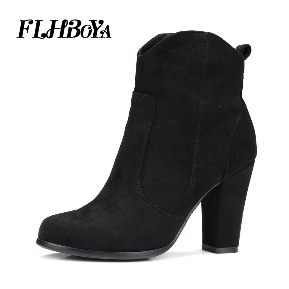 FLHBOYA Women Ankle Boots Square Thick High Heels Flock Boot for Woman Faux Suede Fashion Zip Black Autumn Winter Womens Shoes enmayla autumn winter chelsea ankle boots for women faux suede square toe high heels shoes woman chunky heels boots khaki black