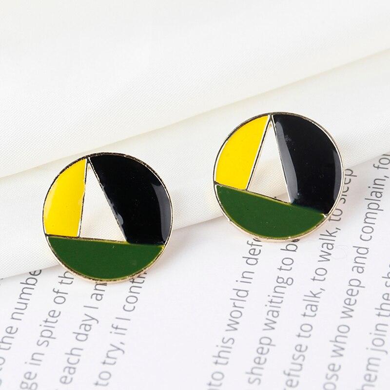 AENSOA Multiple Minimalist Enamel Candy Color Geometric Stud Earrings 4 Styles Cute Hollow Small Earrings For Women Girl Gift