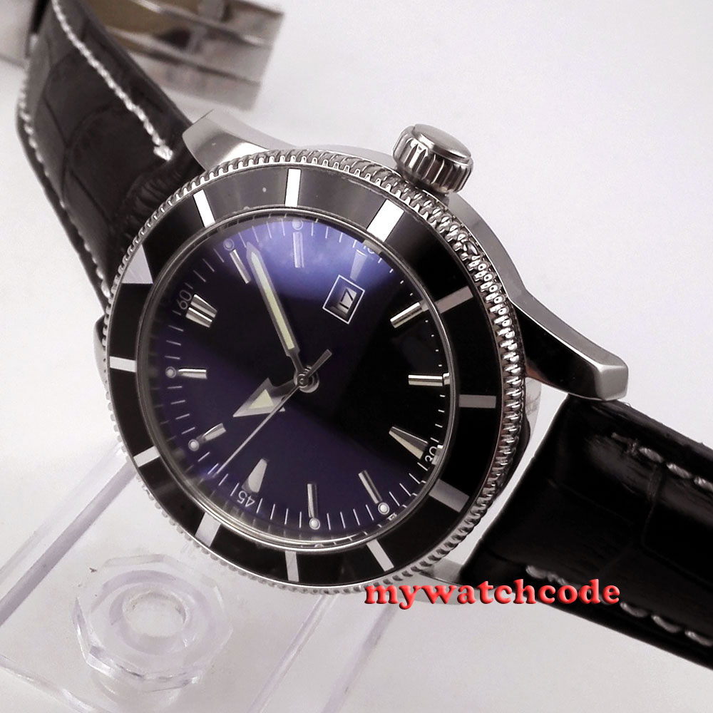 46mm parnis black dial luminous marks automatic mens wrist watch P469AU 46mm parnis polished steel case luminous marks
