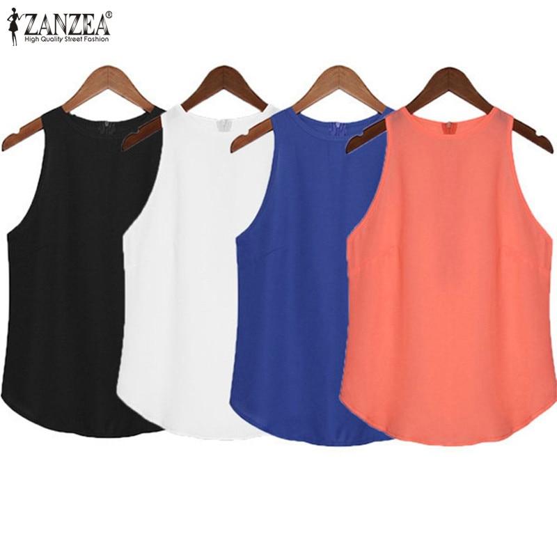 ZANZEA Women Halter Tops 2019 Summer Sexy Tank Tops Casual Solid Sleeveless Office Vest Ladies Chiffon Camis Plus Size S-3XL
