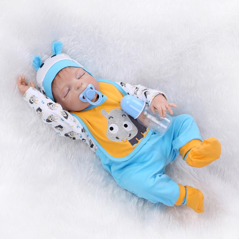 23 Inch 57cm Full Body Soft Silicone Vinyl Lovely Weighted Reborn Baby Doll Boy Toddler Lifelike Newborn Dolls That Look Real