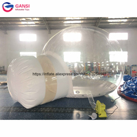 Hot sale 4m diameter transparent inflatable igloo tent, outdoor single tunnel inflatable bubble tent for camping