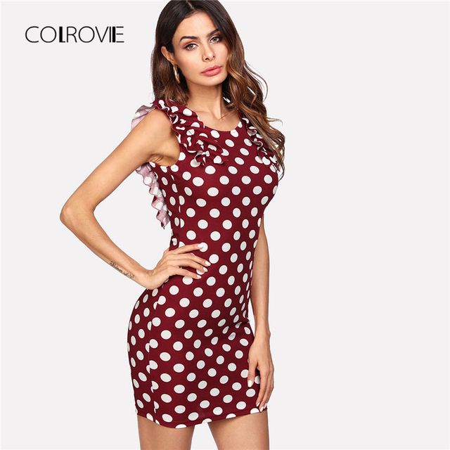 COLROVIE Ruffle Shoulder Polka Dot Dress 2018 New Multicolor Scoop Neck Sleeveless Sheath Dress Summer Short Female Dress