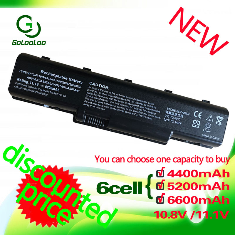 Golooloo 11.1V батареясы Acer Aspire AS07A31 5738zg 4740g 5740g 5542g 4930g AS07A32 AS07A41 AS07A42 AS07A51 AS07A52 AS07A71
