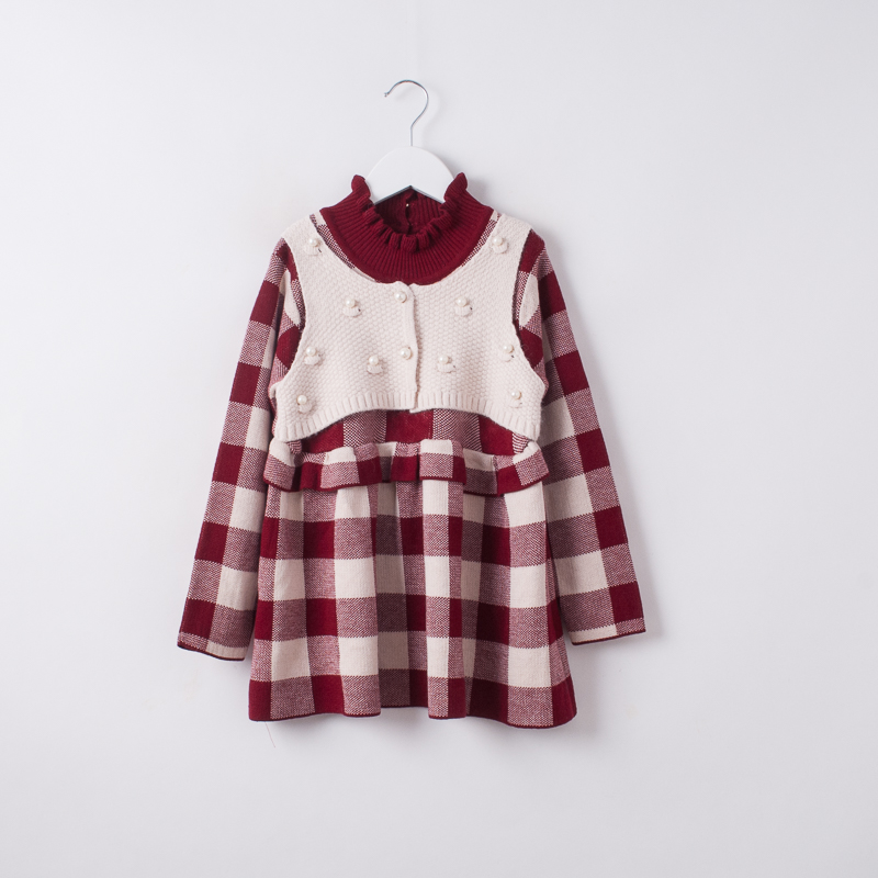 Children Plaid Clothing Autumn Spring Wholesale Baby Girls Princess Knitted Dress Kids Boutique Pearl Ruched Clothes 5pcs/LOT