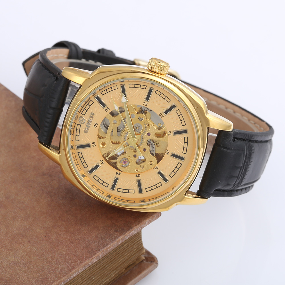 GOER Relogio Masculino Gold Mechanical Watches Men PU Leather Automatic Self-Wind Mechanical Skeleton Watch Men Luxury Watches  1pcs men s luxury mechanical wristwatch skeleton watches hand wind up leather strap free shipping wholesale relogio masculino j5