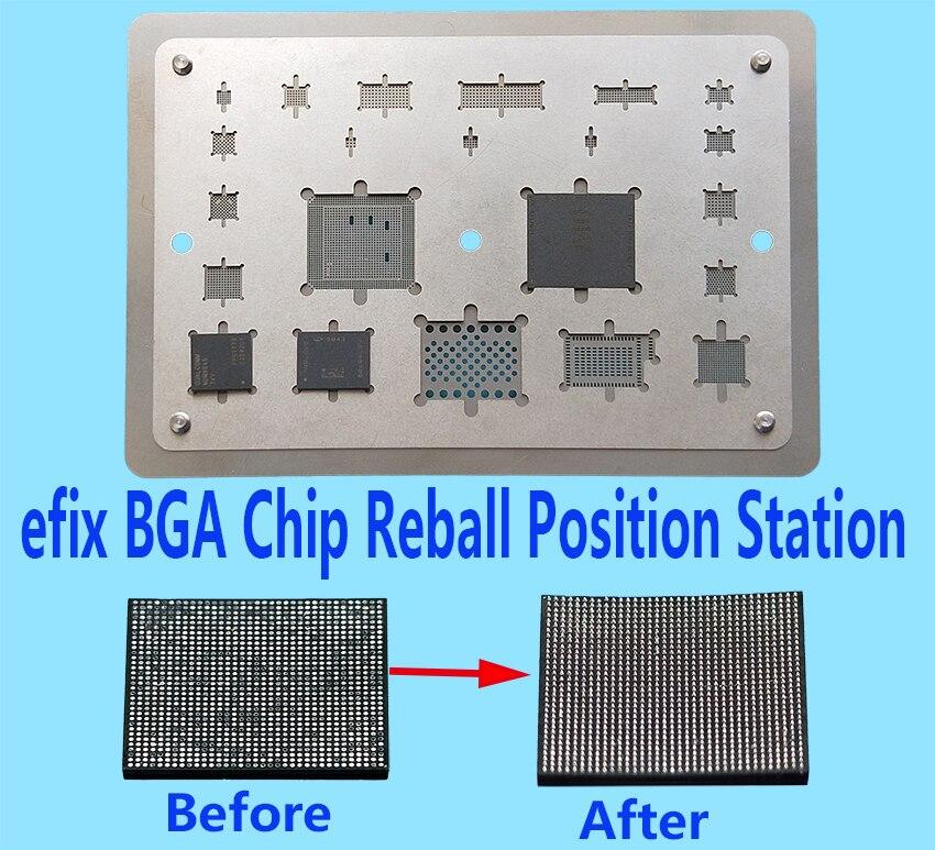 Efix BGA Chip Reball plantilla A8 A9 A10 de soldadura Estación de soldadura de hierro flujo arreglar iPhone 6 iPhone 6 6 S 7 Plus NAND IC Kit de herramientas de la placa base