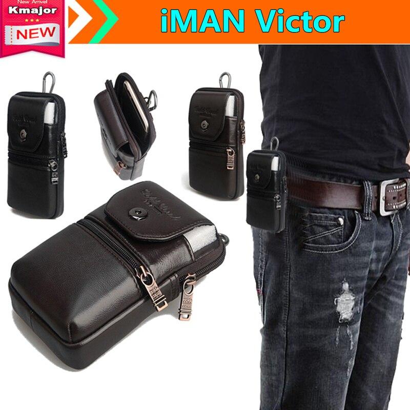 imágenes para Carry case bolsa de cinturón de clip monedero de la cintura de cuero genuino cubierta para iman victor 5.0 pulgadas smartphone impermeable envío de la gota libre