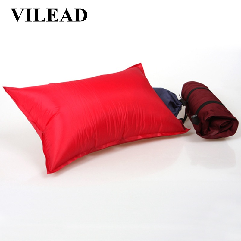 VILEAD Portable Inflatable Camping Pillow Travel Plane Hotel Sleep Outdoor Hiking Dropshipping Ultralight Comfortable 45*25 cm-in Camping Pillows from Sports & Entertainment