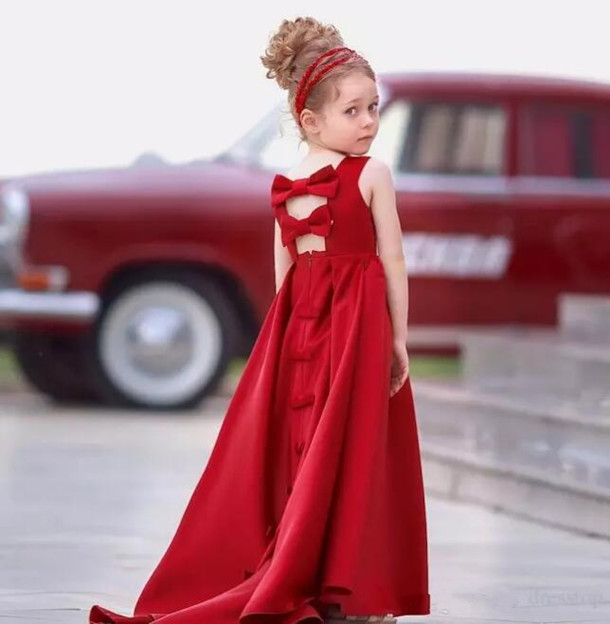 Red Flower Girls Dresses For Wedding 2018 Jewel Neck Hollow Back Satin First Communion Gown Custom Any size color adorable fuchsia kids flower girls dresses 2018 long sheer jewel neckline lace satin ball gown custom any size