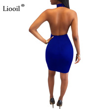 Liooil Black Halter Sequin Dress Off Shoulder Backless Sexy Hollow Out Women Dress Sheer Bodycon Celebrity Night Club Dresses