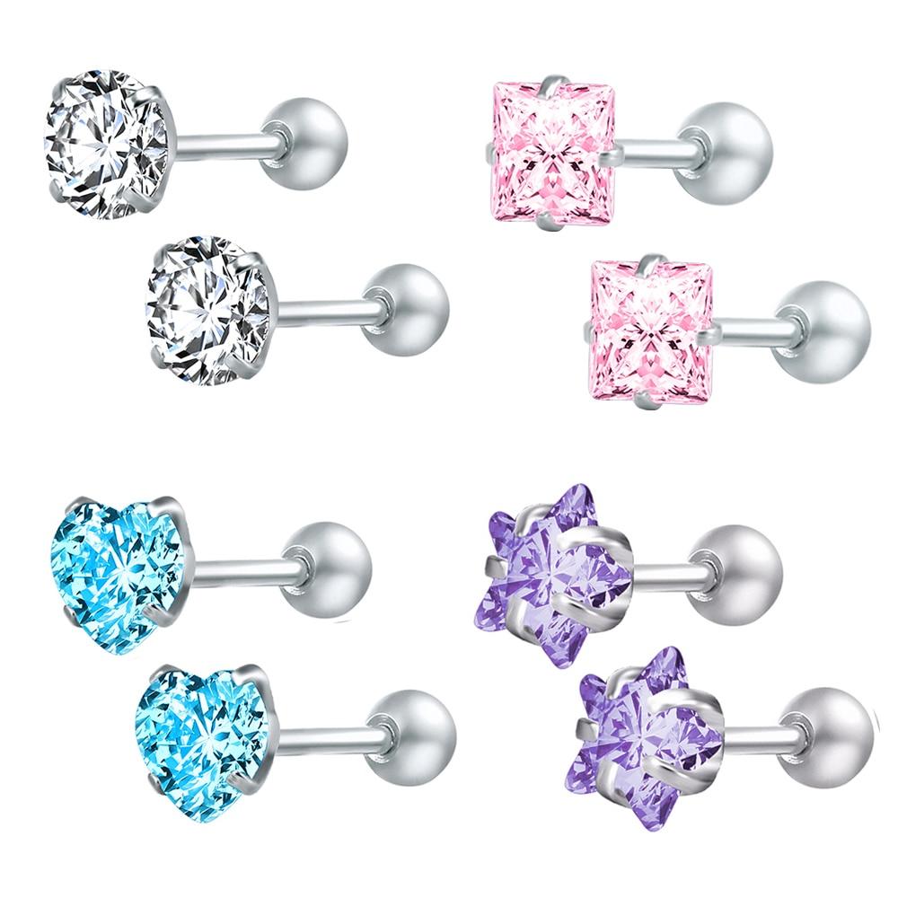 Zs 4 pares/lote brincos de cristal para as mulheres de aço inoxidável brinco redondo parafuso bola estrela crianças brincos boucle d'oreille