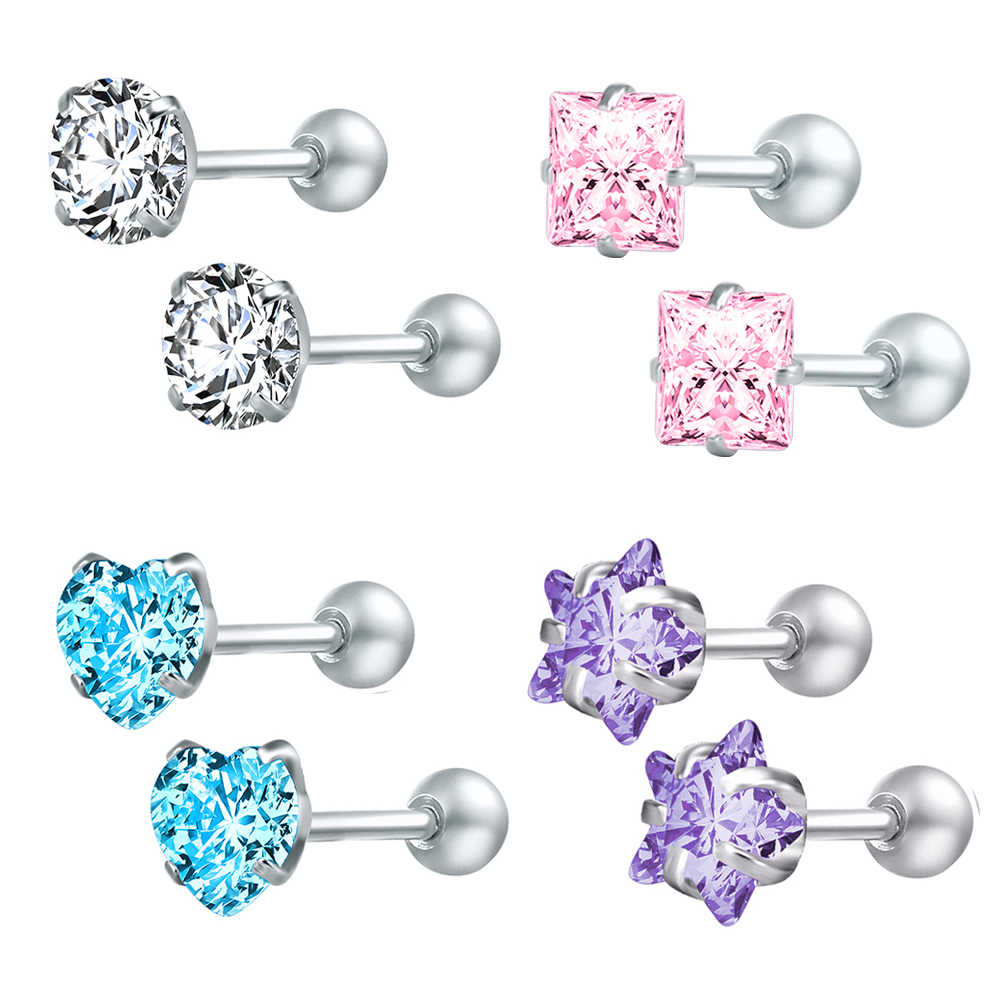 ZS 4 Pasang/Lot Crystal Stud Earrings untuk Wanita Stainless Steel Bulat Anting-Anting Sekrup Bola Bintang Anak-anak Anting-Anting Boucle D'oreille