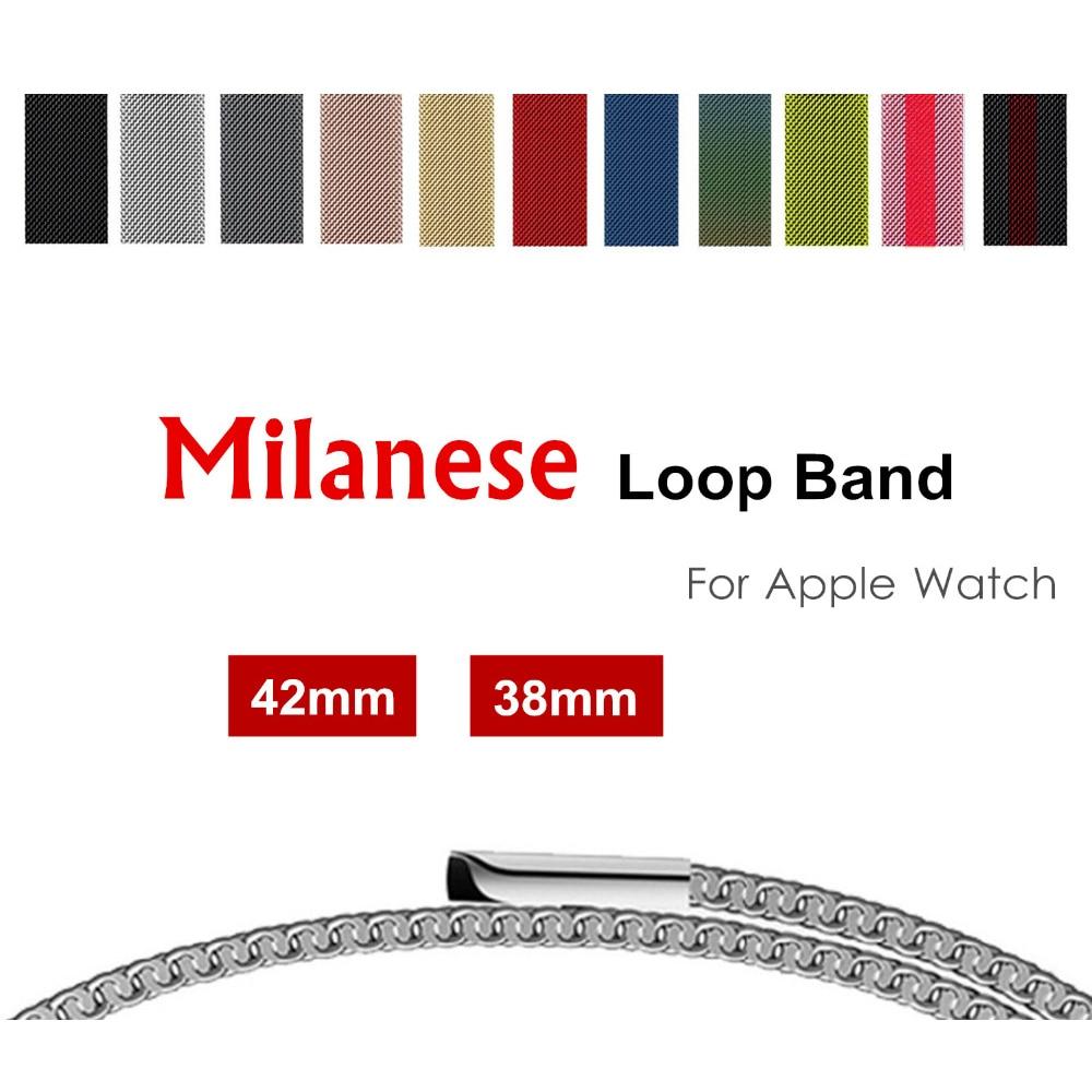 Milanese loop band для apple watch 42mm 38 мм Нержавеющаясталь Металлический Ремешок Браслет ремешок для iwatch серии 3/2/1 аксессуары
