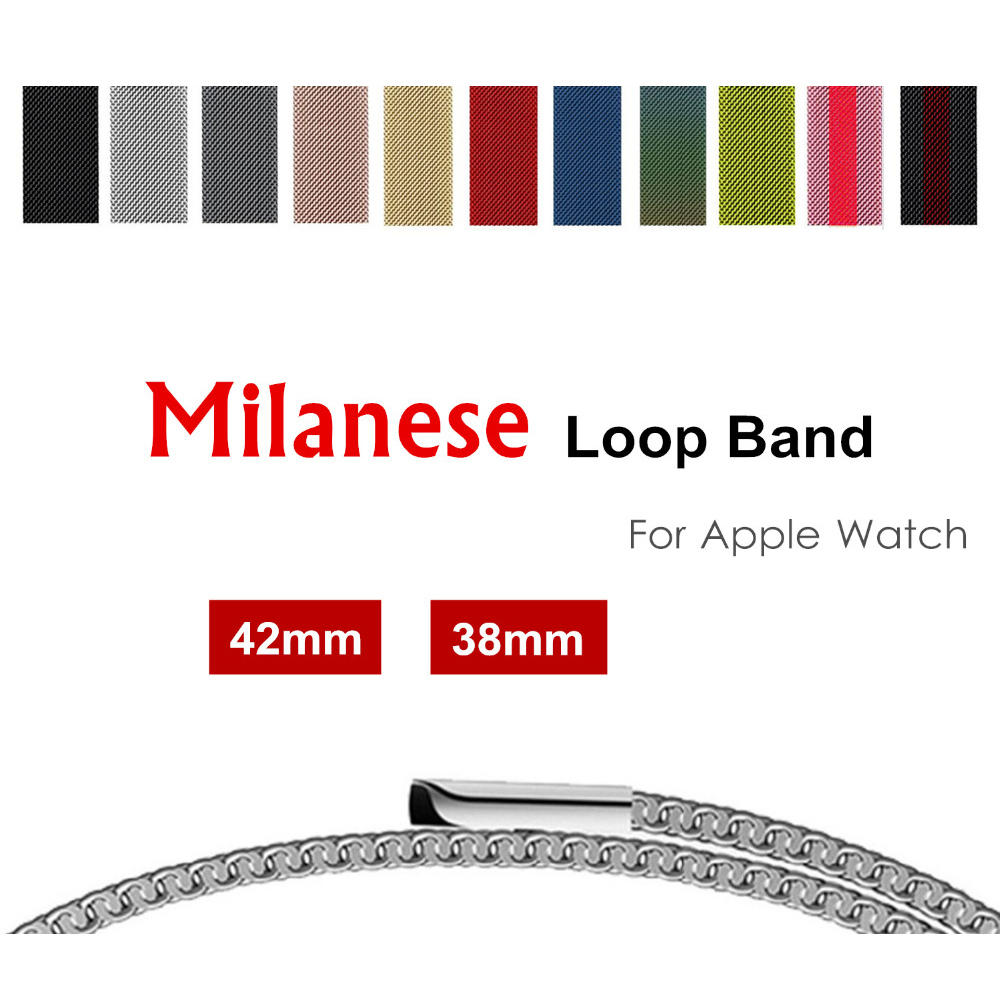 Milanese loop band for apple watch 42mm 38mm Stainless Steel metal strap Bracelet watchband for iwatch