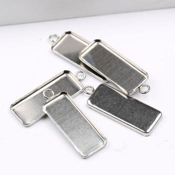 Onwear 10 шт. 10x25 мм прямоугольное основание кабошона из нержавеющей стали пустые подносы для ювелирных изделий diy настройки кулона ожерелья