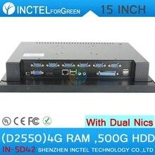 2015 все в одном сенсорный экран LED 15 дюймов компьютер с 2 * RJ45 6 * COM 4 Г RAM 500 Г HDD