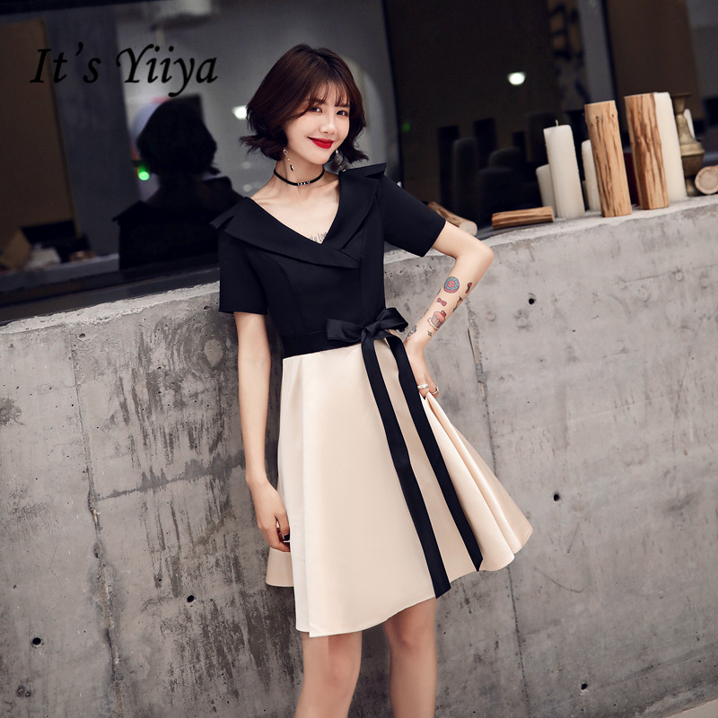 It's YiiYa Cocktail Dresses Elegant Tie Bow Ruffles Formal Gowns Simple V-neck Zipper Back A-line Knee Length Party Dress E377