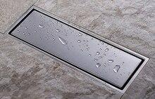 304 sólido aço inoxidável 300x110mm quadrado anti odor dreno de assoalho do banheiro chuveiro invisível dreno dr053