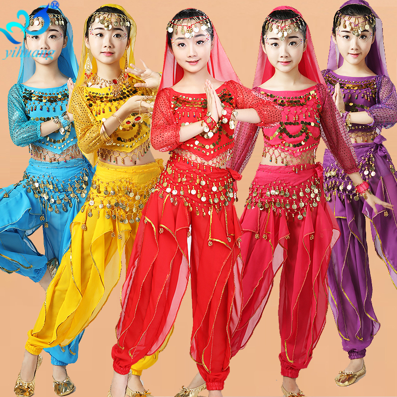 Child Oriental Belly Dance Costumes Competition Kids Halloween Outfits Girls Indian Long Sleeves Top,Pants,Hip Scarf,Head Veil