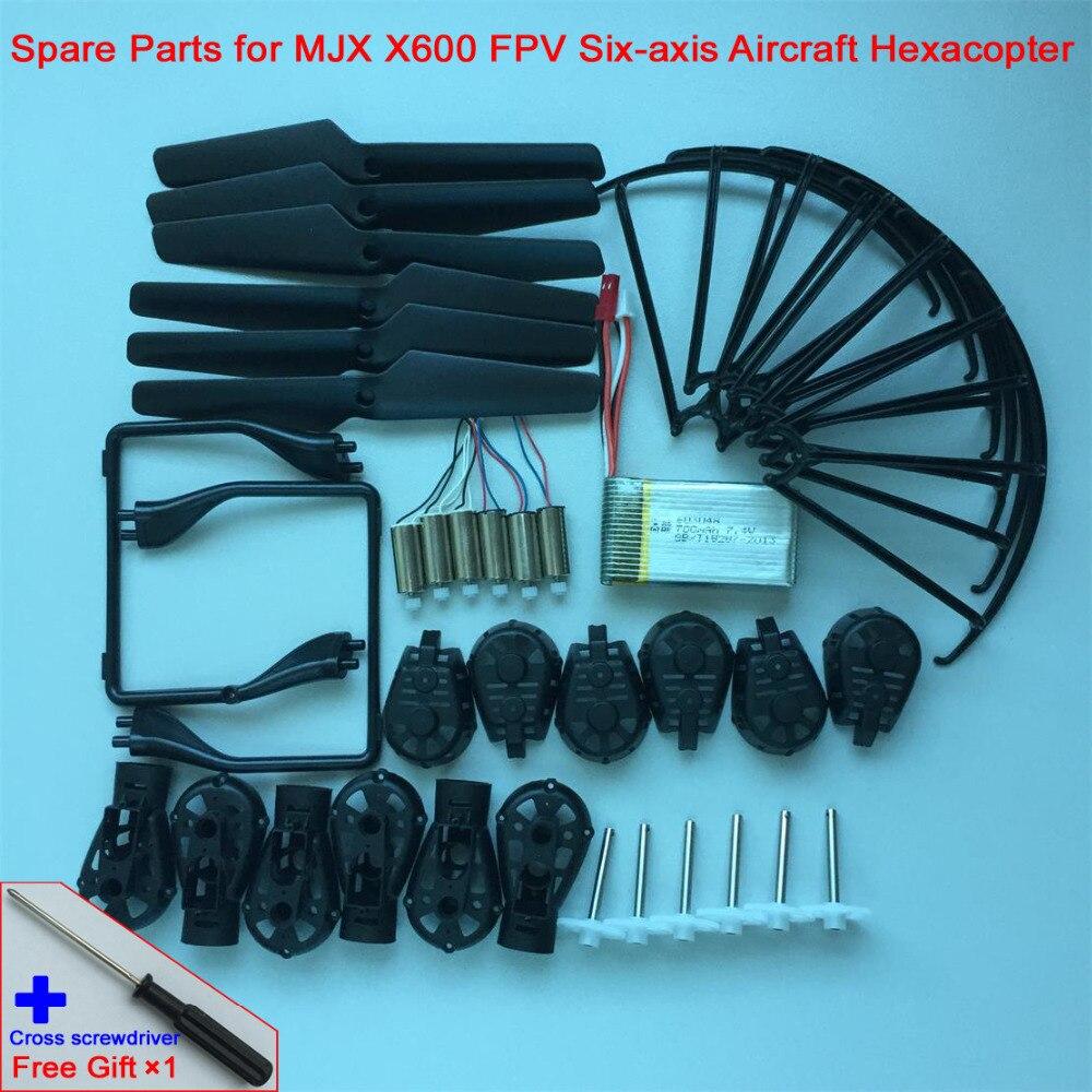 MJX X600 FPV Six-axis Aircraft Hexacopter Main Propellers+Motor Socket+ Landing Gear+ Motor+Protective Ring+Gear+Battery Set радиоуправляемый квадрокоптер с барометром mjx x301h fpv 2 4g x301h mjx