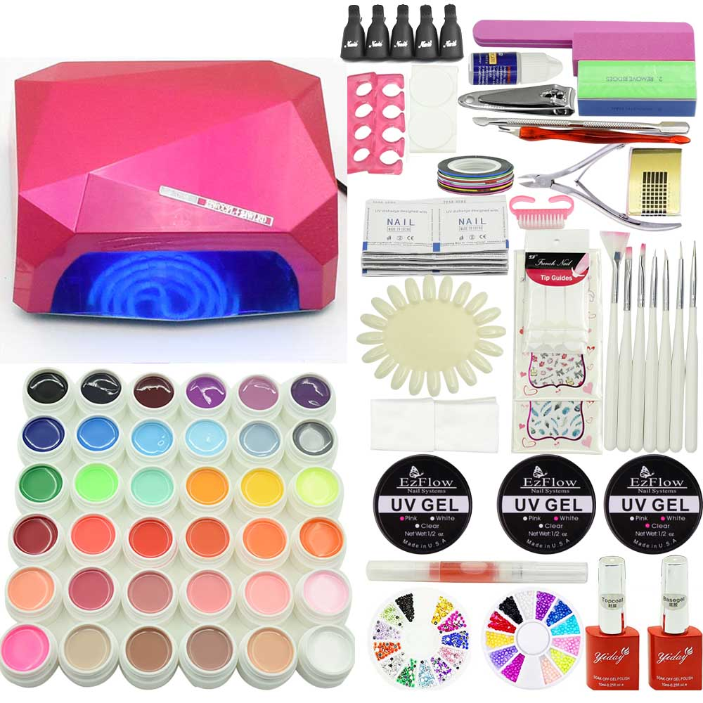 Jewhiteny 36W UV LED lamp Nail Gel Soak-off Gel polish Top & Base Coat gel 36 colors NAIL art tools kits sets manicure nail art manicure tools set uv lamp 10 bottle soak off gel nail base gel top coat polish nail art manicure sets