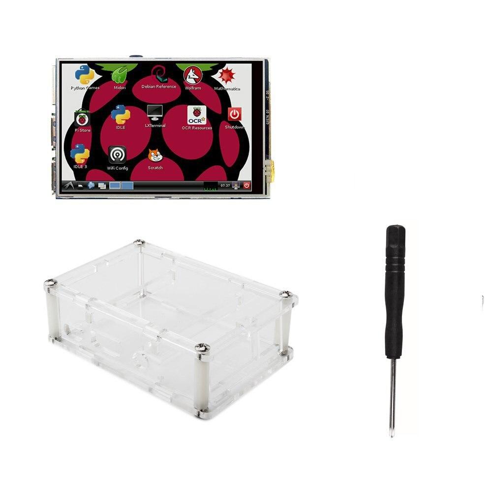 3.5 Polegada Tft Lcd Moudle 3.5 Tft Lcd Tela Sensível Ao Toque Com Stylus Para Raspberry Pi 3 B + Pi 3 Caso Acrílico + Chave De Fenda