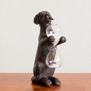 Żywica styl skandynawski Artwork Home Decor zardzewiały pies trzyma w klepsydra kreatywne ozdoby Retro klepsydra piasek sztuki Timer zegar