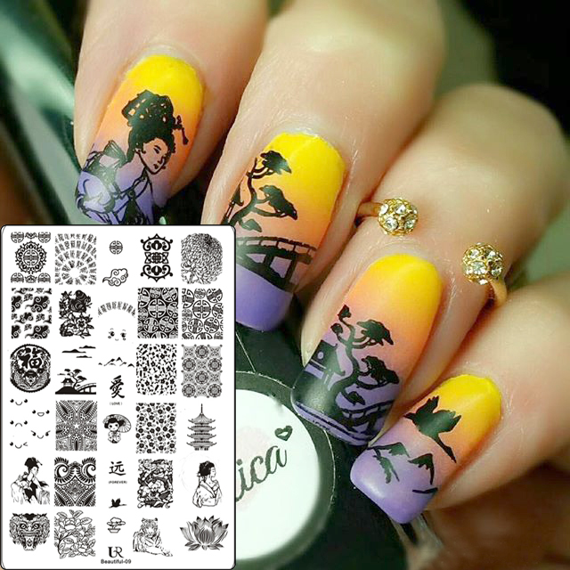 1pc9.5*14.5cm Nail Stamping Template Square Geometry Flower vine Fruit Pineapple Nail Art Stamp Template Image Stamping Plate