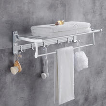Aluminium Nail Free Foldable Towel Holder Bathroom Double Shelfs with Hooks Storage Hanger Rack Accessories Non Punch-drilling