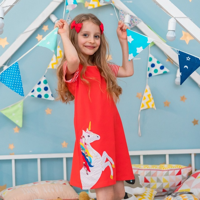 Girls Dress 100% Cotton Baby Girl Clothes Vestidos Casual Unicorn Flowers Print Princess Dress Girl Party Dress with Sequins