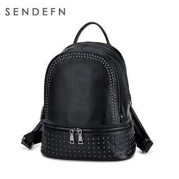 Sendefn Women Genuine Leather Backpack Teenage Girls Casual School Travel Bags Lady Rivet Shoulder Bag Large Capacity