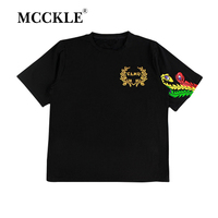 MCCKLE Unisex Hip Hop T Shirts 2018 Summer Cool Tees Shirts High Street Colorful Bird Tee