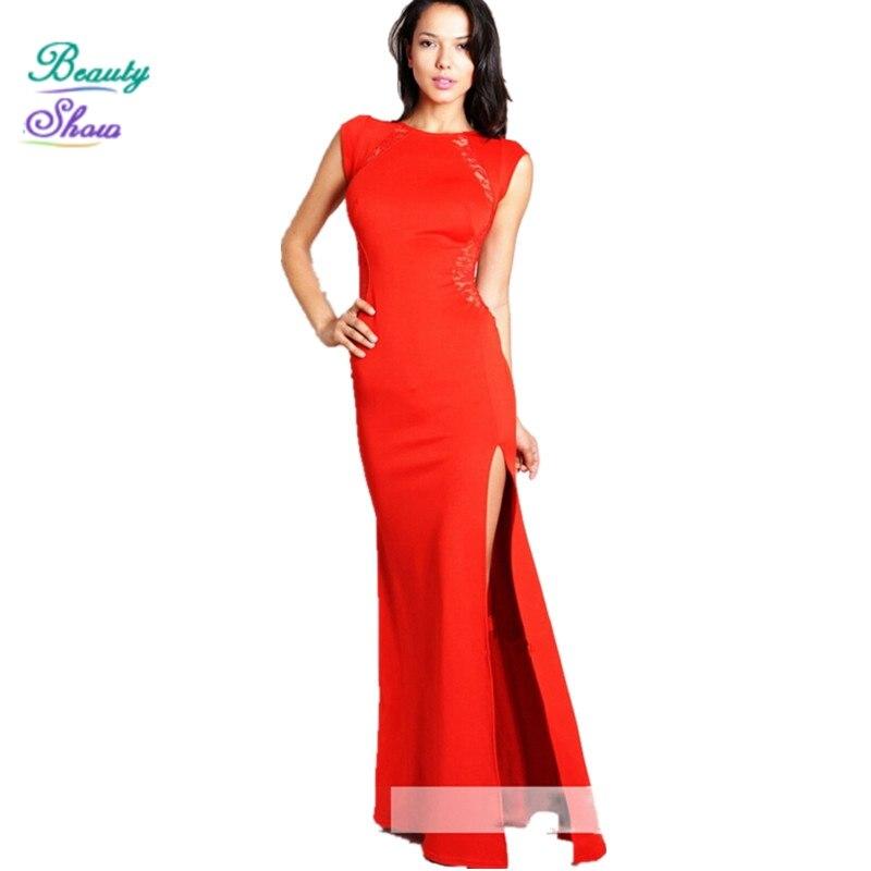 2017 New Fashion Women O Neck Sleeveless Slim Floor Length Patchwork Lace Dress Women Long Party