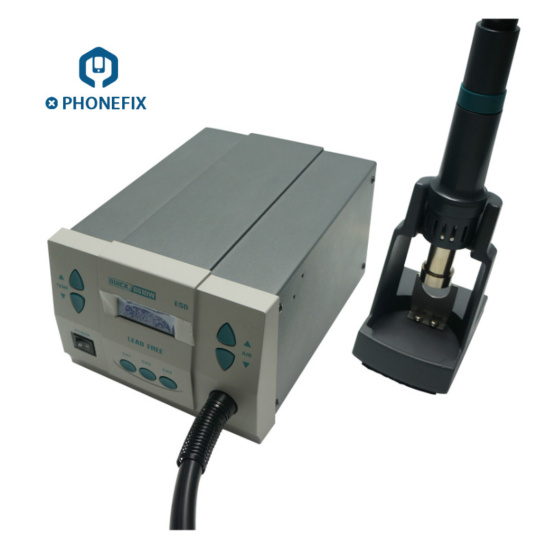PHONEFIX Original QUICK 861DW Soldering Station 1000W 110V 220V Rework Station with Different Size Nozzle Hot