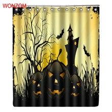 WONZOM Tree And Bat Curtain Modern Waterproof Curtains For Bathroom Decoration 3D Polyester Fabric Halloween Bath Cuntain