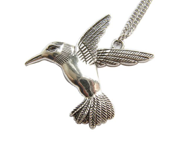 bird soaring tiny pendant hummingbird charm necklace il listing