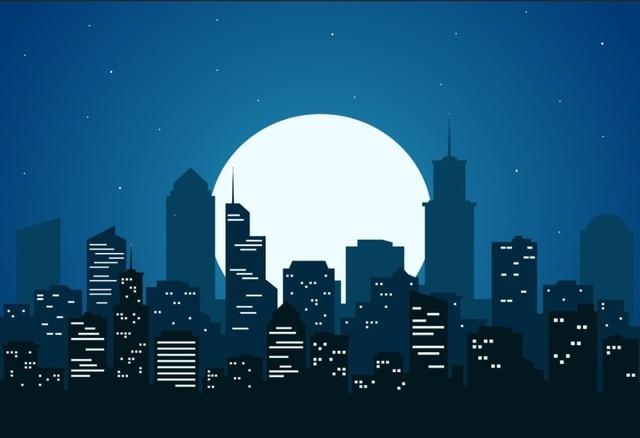 7x5ft Super Heores Blu Notte Di Luna Cielo Skyline Edifici Su