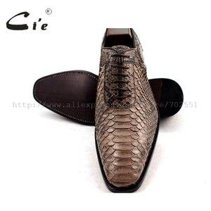 Image 5 - Cie Chân Vuông Bespoke Tuỳ Handmade Da Trăn Bê Đế Ngoài Bằng Da Người Đàn Ông Thở của giày NoSN1 Goodyear welted Màu Nâu