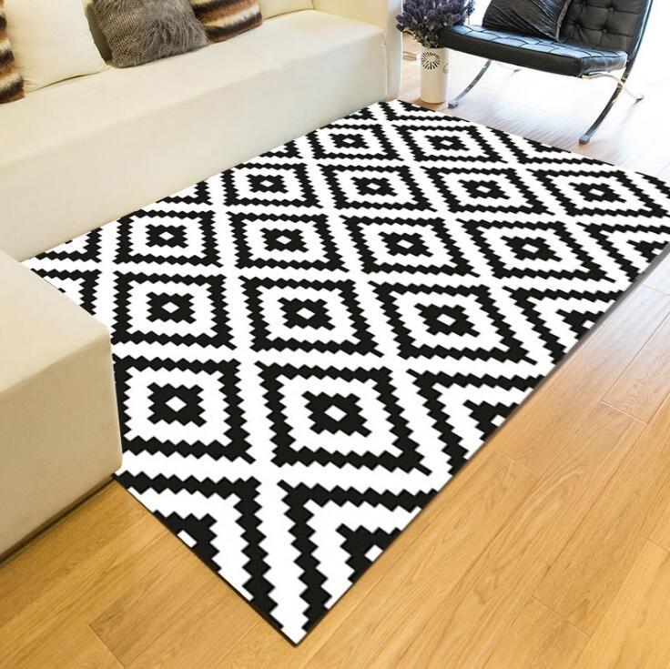 Black And White Geometric Kitchen Rug: Geometric Black And White Large European Carpet Area Rug