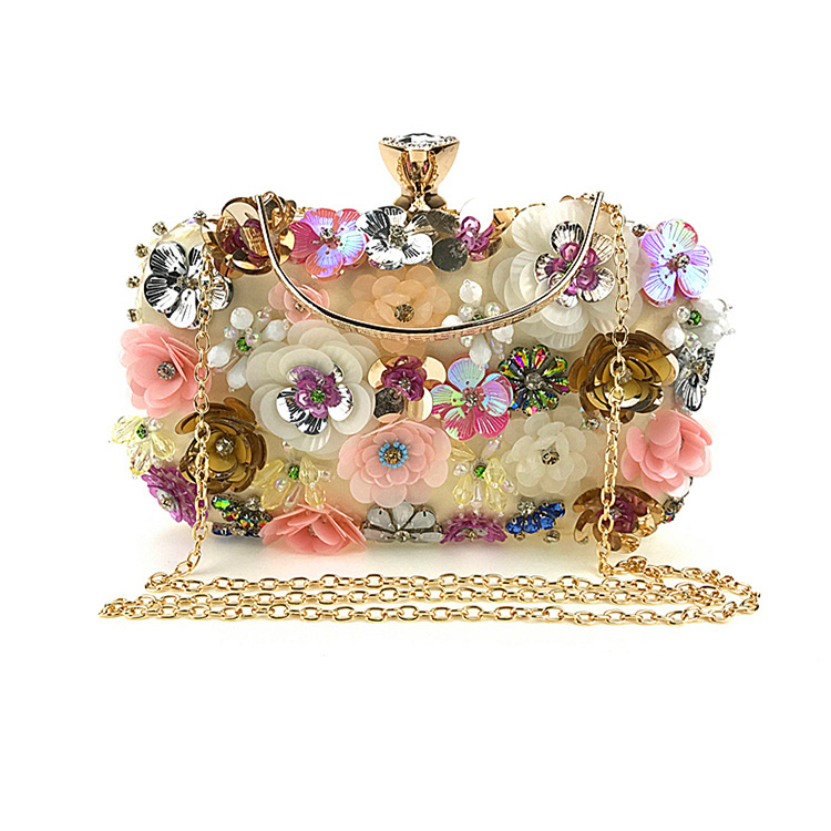 Fashionable Handmade Flowers Beaded Evening Silk Clutch Bag,understated Luxury Bags with Connotations цены онлайн