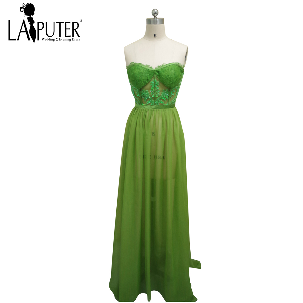 Discount Designer Evening Dresses: Simple Elegant Green Chiffon Sexy See Through Summer Cheap