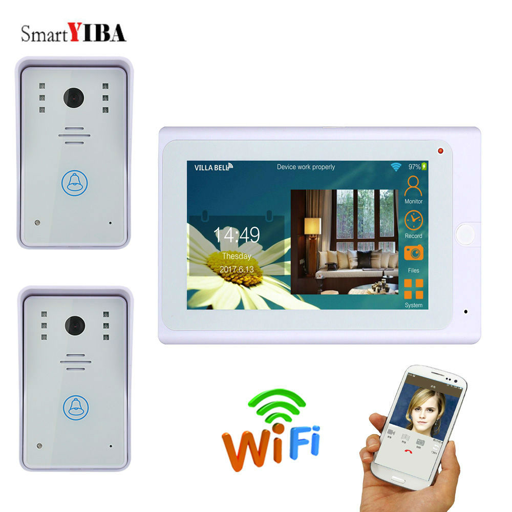SmartYIBA Video Doorbell 7 Inch Monitor Wifi Wireless Video Door Phone Camera Monitor Door Entry Intercom System Android IOS APP yobangsecurity 7 inch monitor wifi wireless video door phone doorbell video door entry intercom camera system android ios app