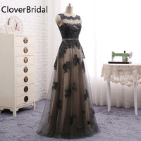 Robe De Soiree Scoop Grey Lace Eveing Dress A Line Floor Length Elegant Formal Party Gown