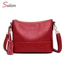 Women Double Shoulder Strap Bag High Quality PU Leather Handbags Tassel Shoulder Bag PU Crossbody Bags for  Women Bolsa Feminina