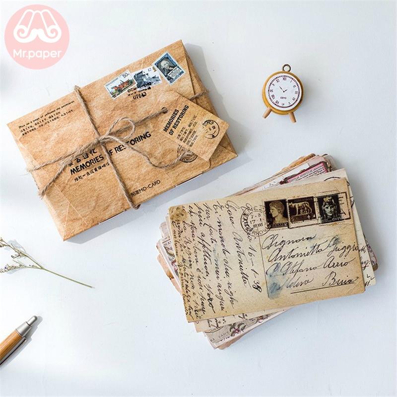 Mr. paper 30 шт./кор. Ретро память о восстановлении открыток винтажный стиль, творческие канцелярские принадлежности, письма, подарок, открытка s|Визитки|   | АлиЭкспресс