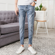 Summer New Jeans Men Slim Fashion Wash Casual Tear Hole Denim Pants Man Streetwear Trend Wild Hip Hop Trousers Male Clothes summer new fashion trend male retro printing mid waist loose casual denim pants stylish scratched skull hip hop jeans men