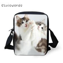 ELVISWORDS Children Crossbody Bag Messenger Bag Mini Cute Cat Printing Treendy Shoulder Bag for Boys and Girls 2019 New