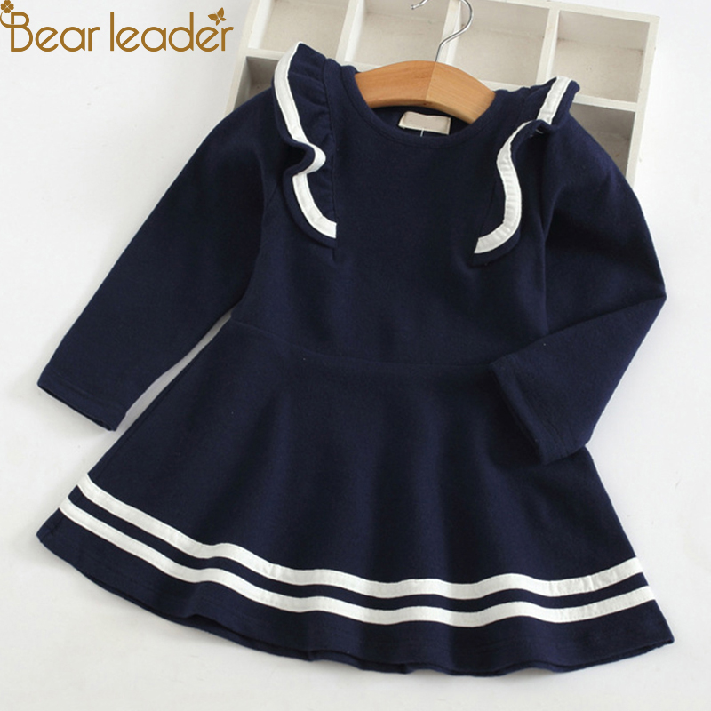 Bear Leader Girls Dress 2018 New Autumn Casual Ruffles A-Line Striped Full Sleeve Kids Dress For 3T-7T a line striped shirt dress
