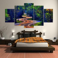5 Panel Modern Natural Beauty Highway And Tree Art Print Canvas Art Wall Unframed Paintings For